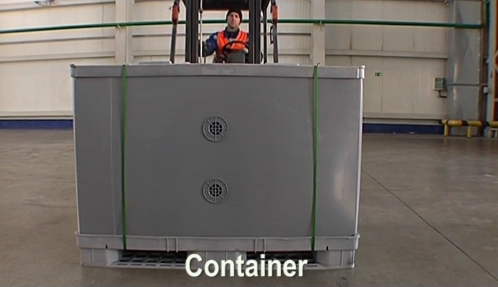 Unpacking container 900/1080 kg
